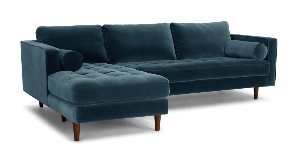 Somerset Velvet Mid Century Modern Right Sectional Sofas For Famous Sven Pacific Blue Right Sectional Sofa (View 2 of 25)