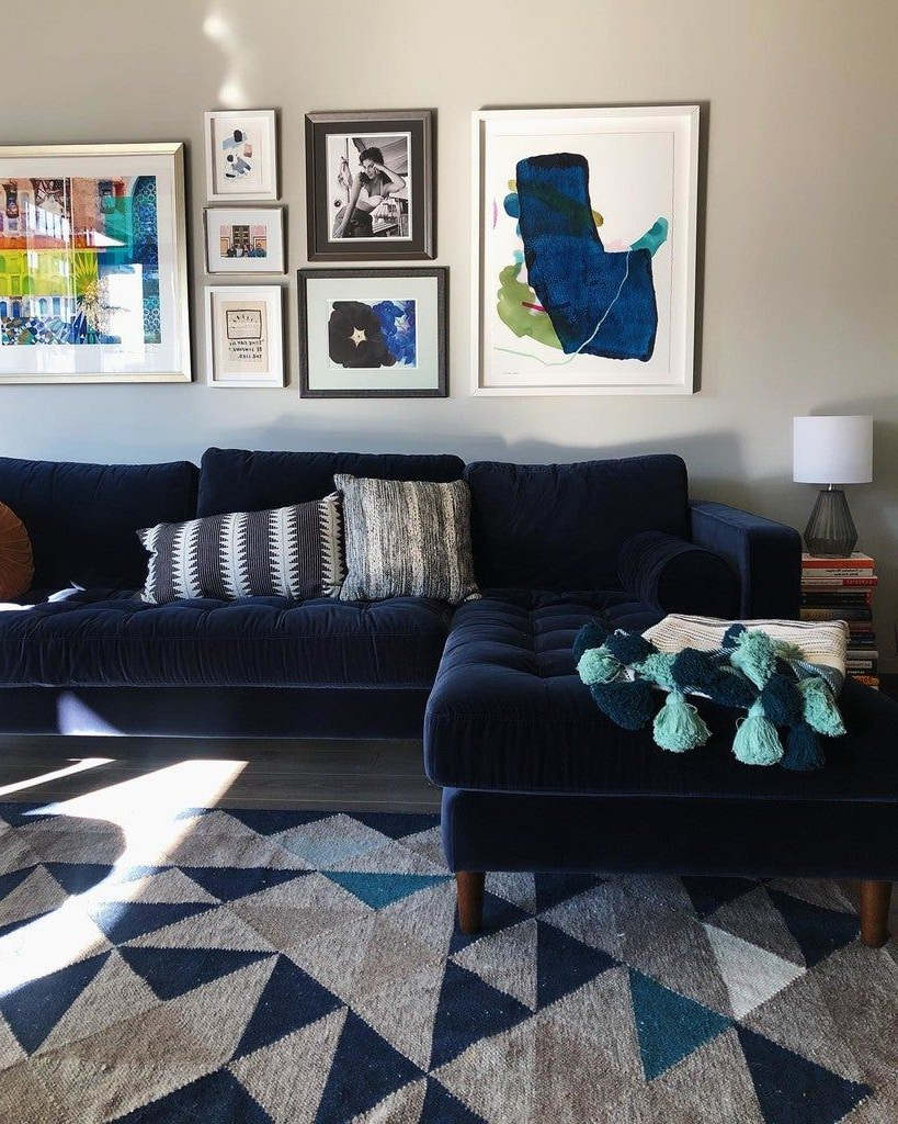Somerset Velvet Mid Century Modern Right Sectional Sofas With Most Popular Sven Cascadia Blue Right Sectional Sofa (View 13 of 25)