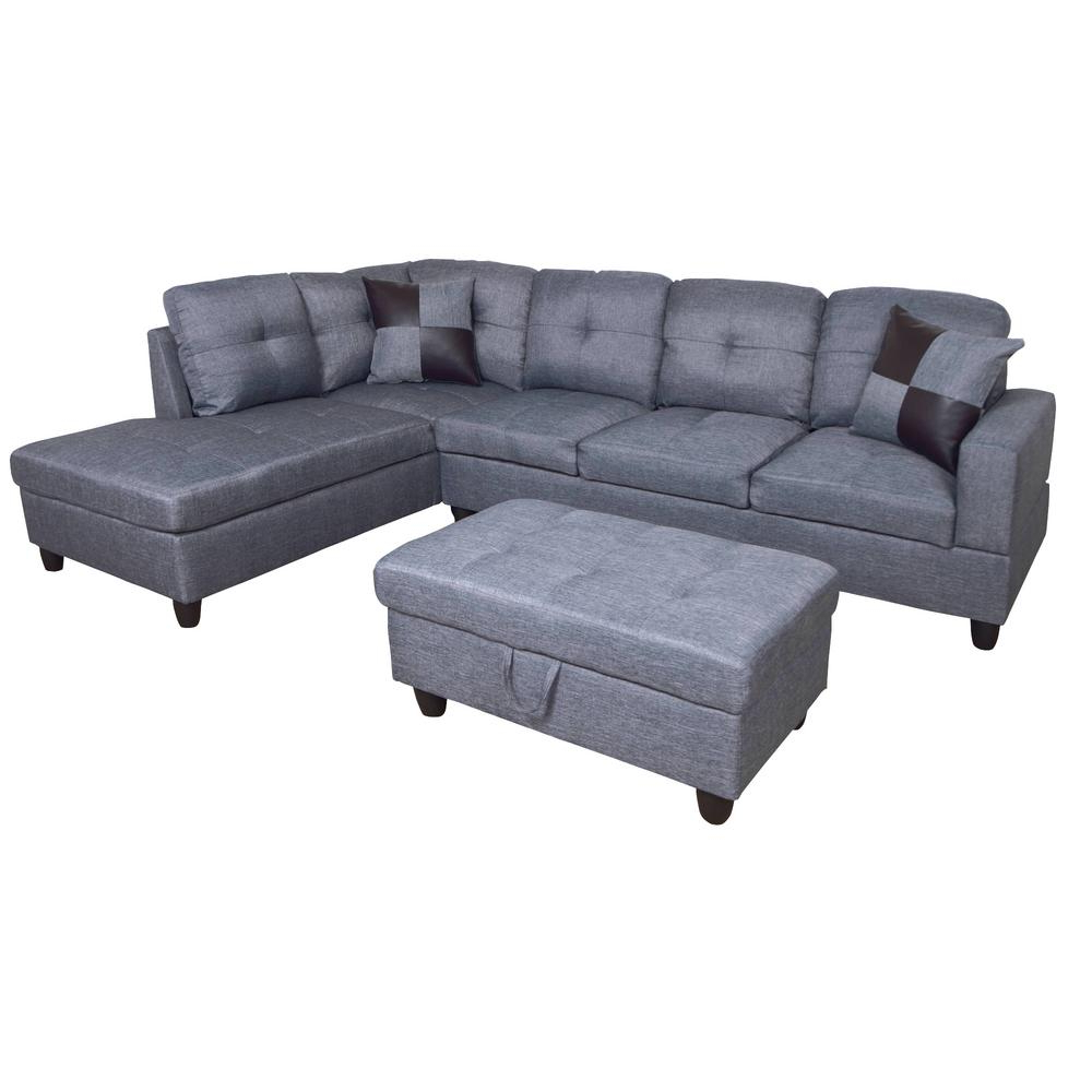 Star Home Living Dark Gray Microfiber 3 Seater Right Throughout Favorite Monet Right Facing Sectional Sofas (View 16 of 25)