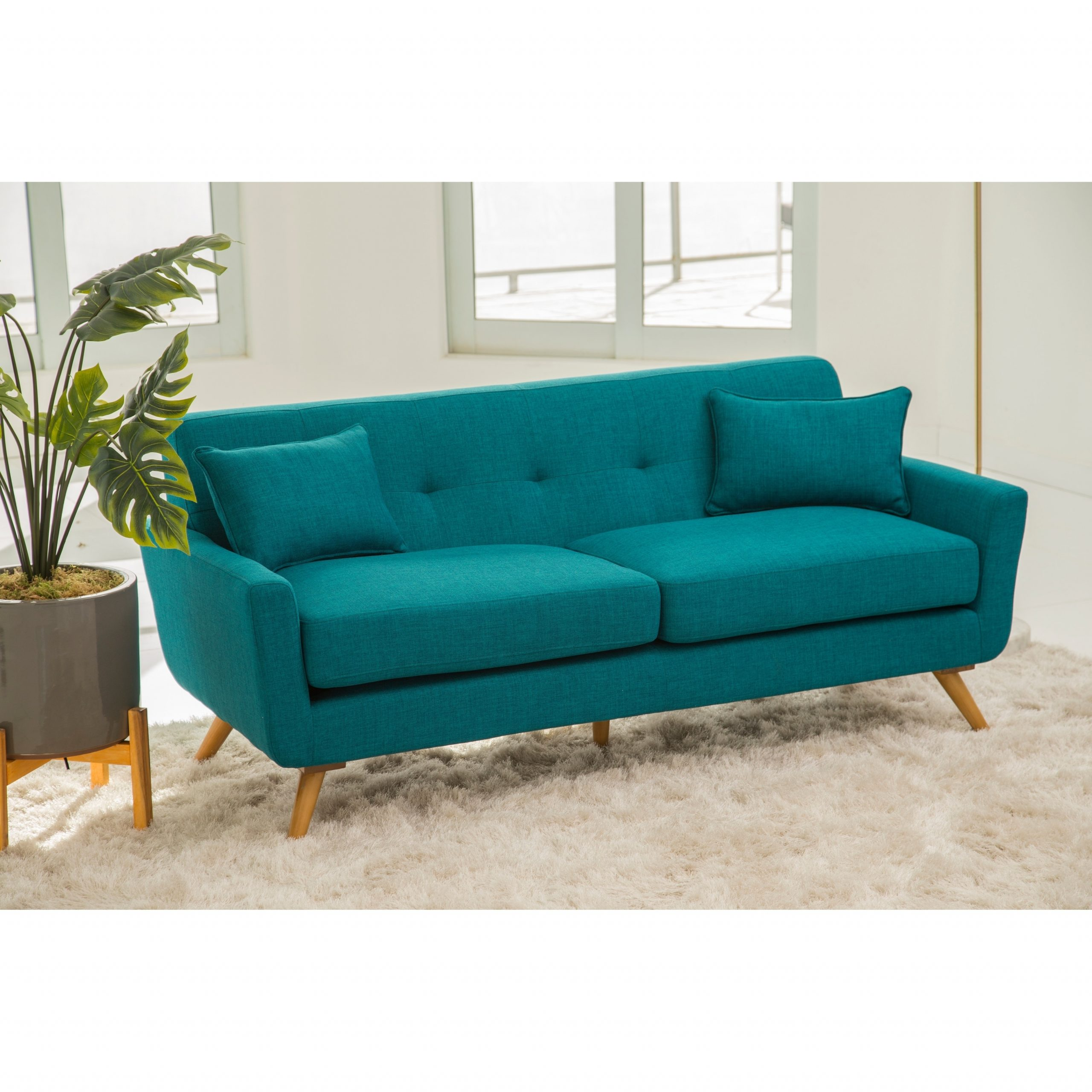 Teal Sofa Bed Abbyson Bradley Mid Century Style Teal Sofa For Most Current Dulce Mid Century Chaise Sofas Dark Blue (View 9 of 25)
