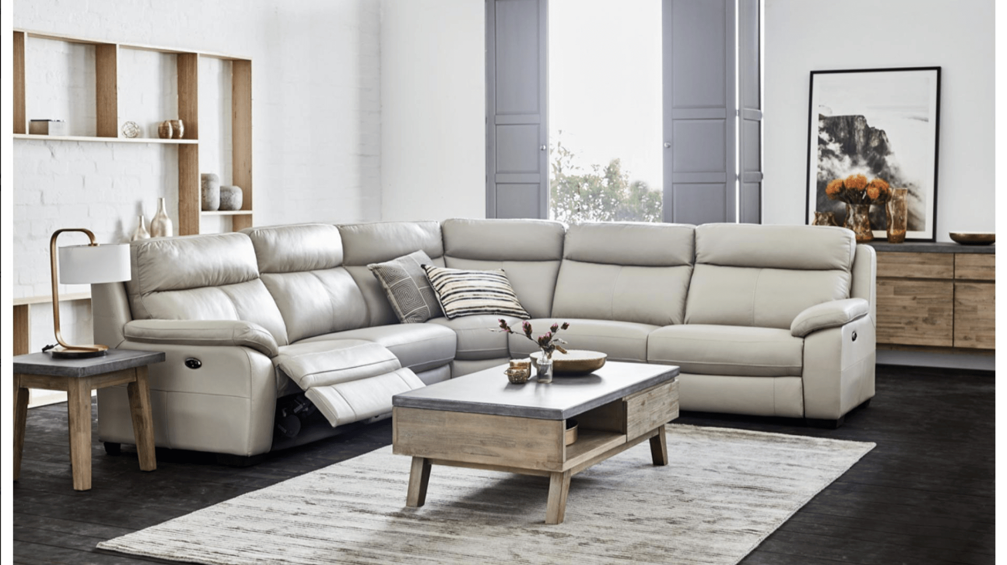 Titan Leather Power Reclining Sofas Within Current Titan Corner Suite – Corrimal Lounges (View 5 of 15)