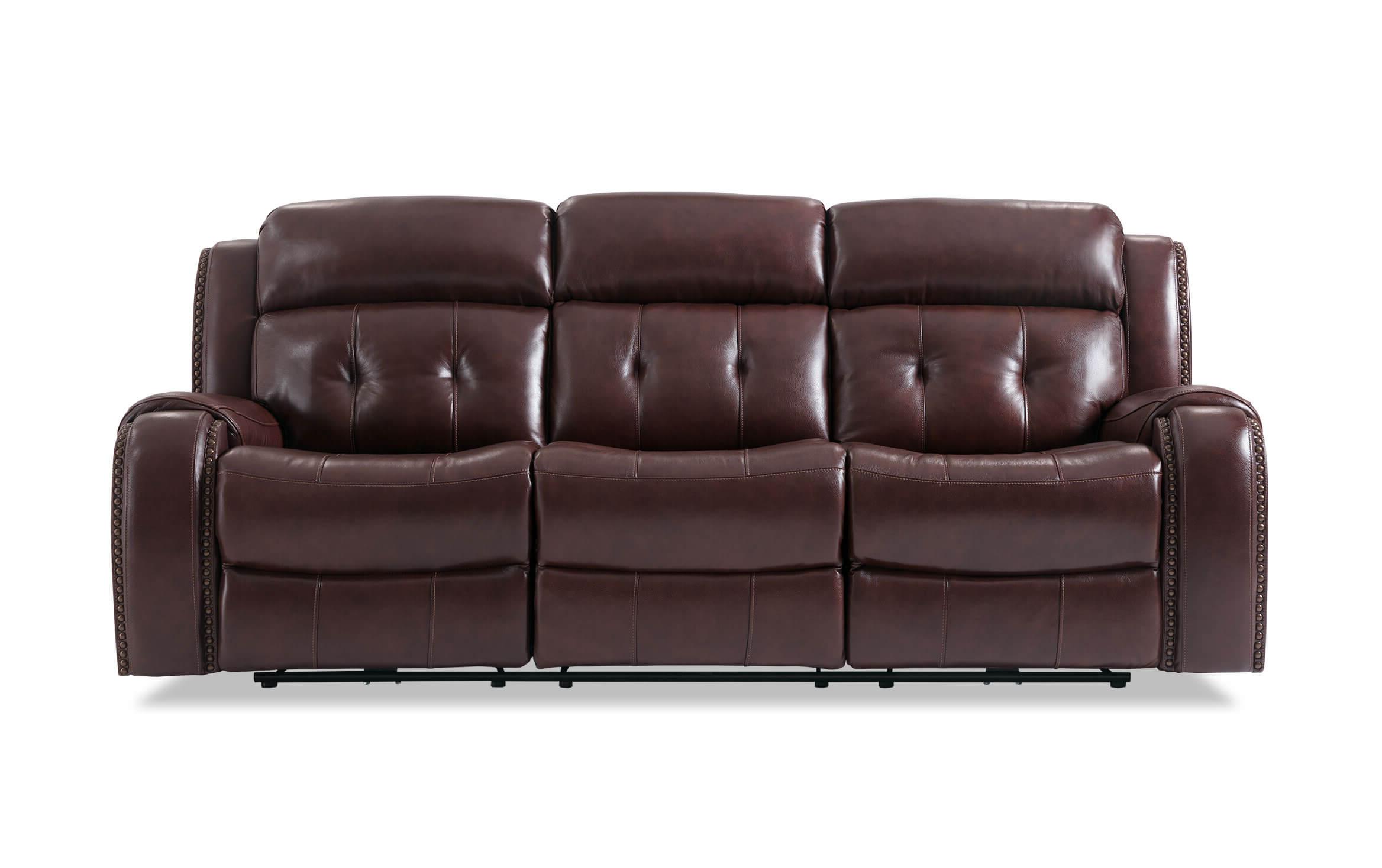 Trailblazer Gray Leather Power Reclining Sofas Inside Most Popular Bobs Furniture Leather Sofa : Trailblazer Gray Leather (View 4 of 15)