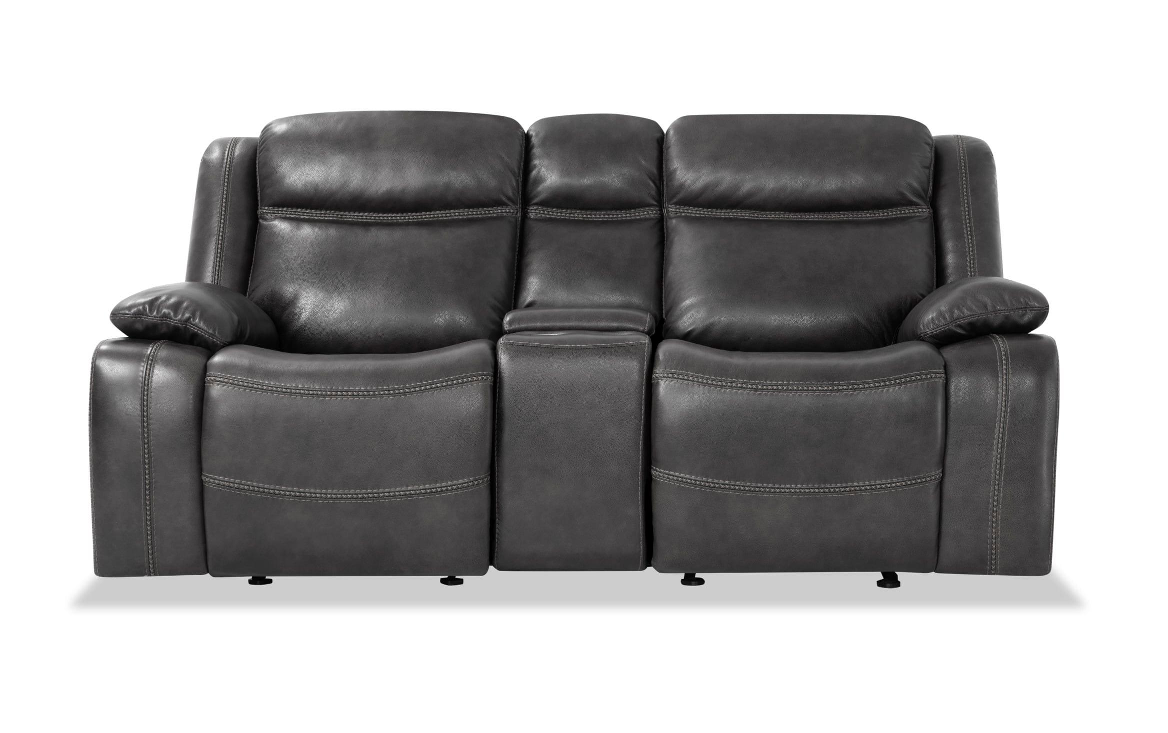 Trailblazer Gray Leather Power Reclining Sofas With Trendy Olympus Gray Leather Power Reclining Loveseat Bob S (View 1 of 15)