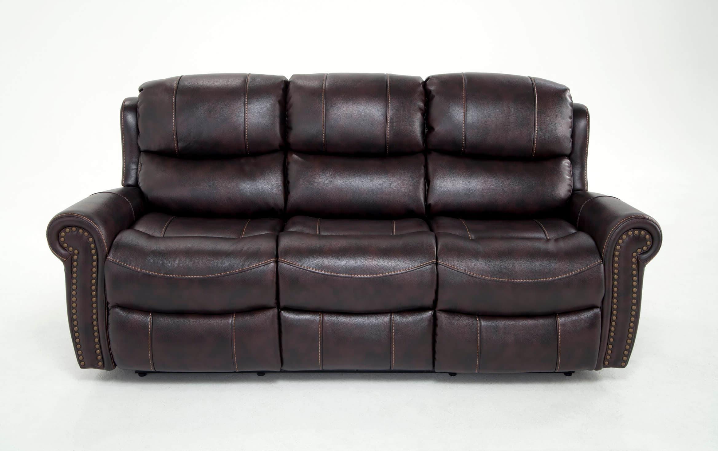 Trailblazer Gray Leather Power Reclining Sofas Within Favorite Bobs Furniture Leather Sofa : Trailblazer Gray Leather (View 2 of 15)