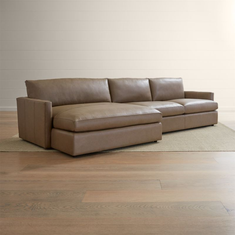 Trendy 2Pc Burland Contemporary Chaise Sectional Sofas Throughout Lounge Ii Petite Leather 2 Piece Right Arm Double Chaise (View 10 of 25)