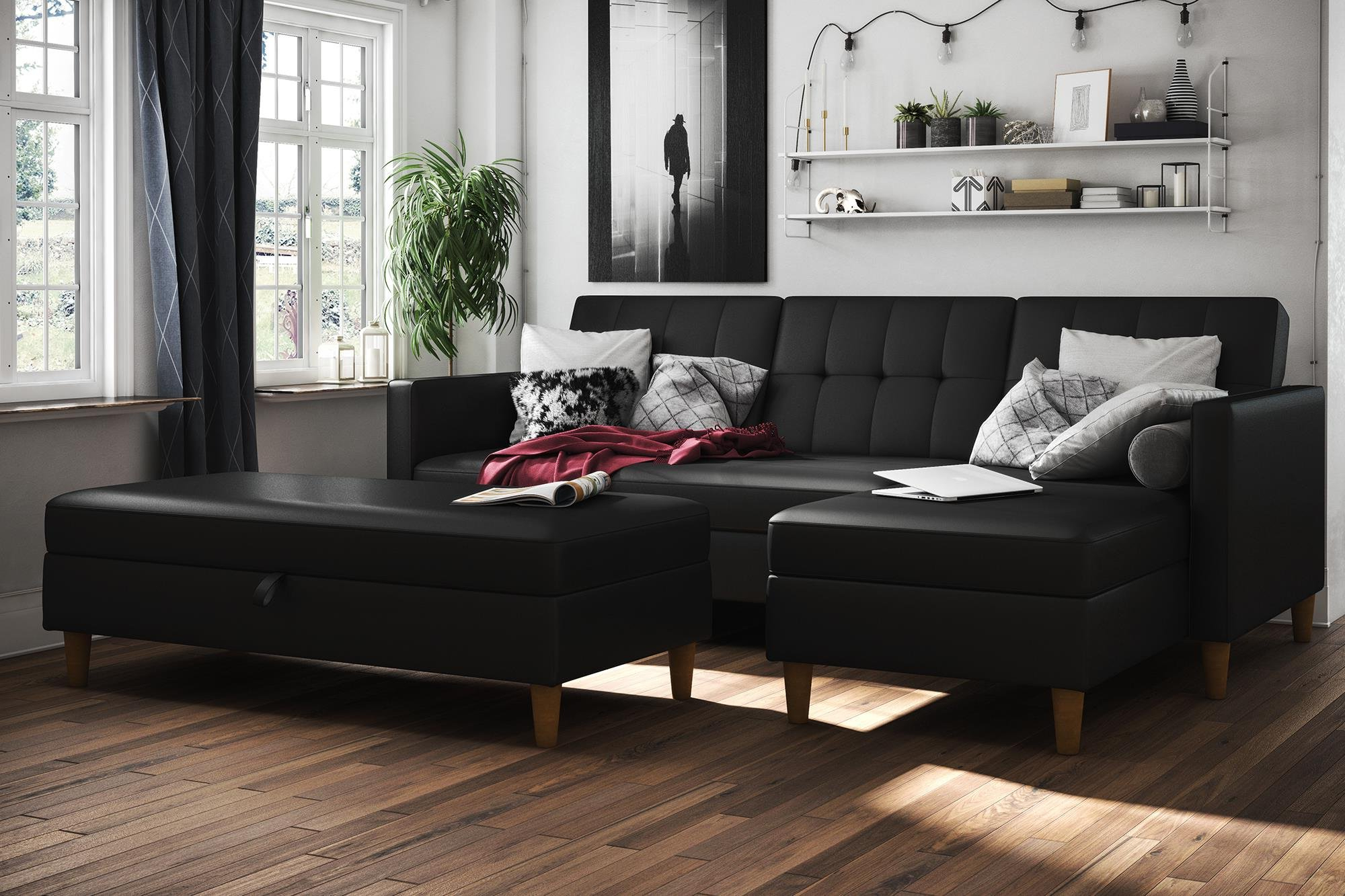 Trendy 3Pc Hartford Storage Sectional Futon Sofas And Hartford Storage Ottoman Tan Pertaining To Cheap Chaise Futon, Find Chaise Futon Deals On Line At (View 12 of 23)