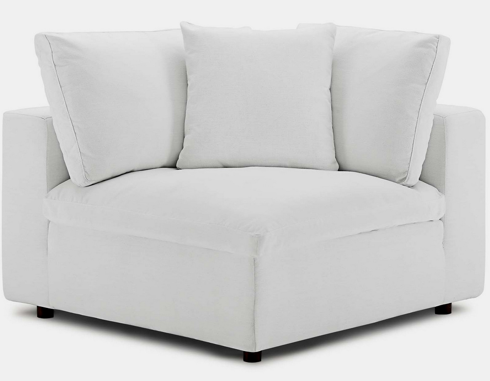 Trendy 4Pc Beckett Contemporary Sectional Sofas And Ottoman Sets Intended For Commix 4Pc White Fabric Overstuffed Sectional Sofa W (View 14 of 25)