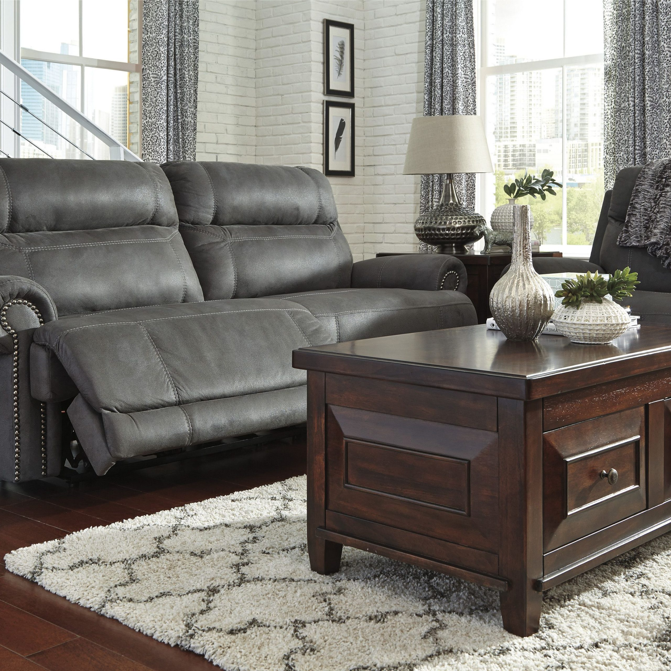 Trendy Austere Gray Reclining Sofa (View 14 of 17)