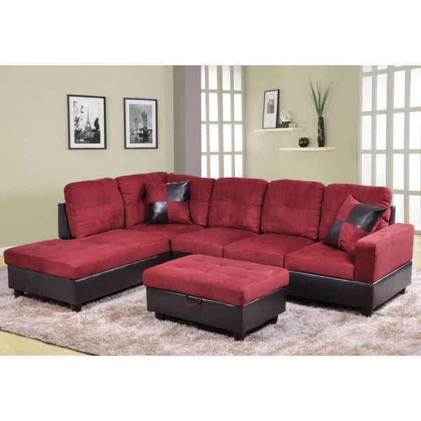 Trendy Cromwell Modular Sectional Sofas In Shop Delima 3 Piece Burgundy Microsuede And Faux Leather (View 5 of 25)