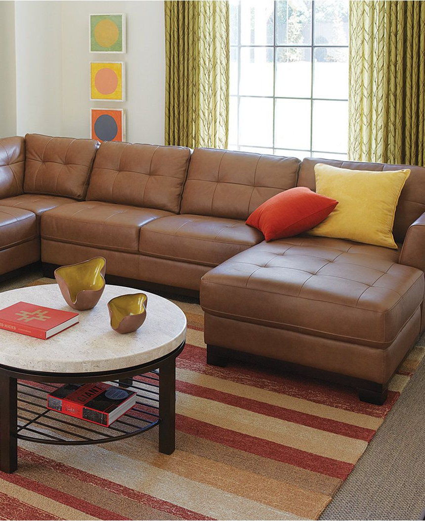 Trendy Martino Leather 3 Piece Chaise Sectional Sofa – Furniture With Regard To 3Pc Miles Leather Sectional Sofas With Chaise (View 11 of 25)