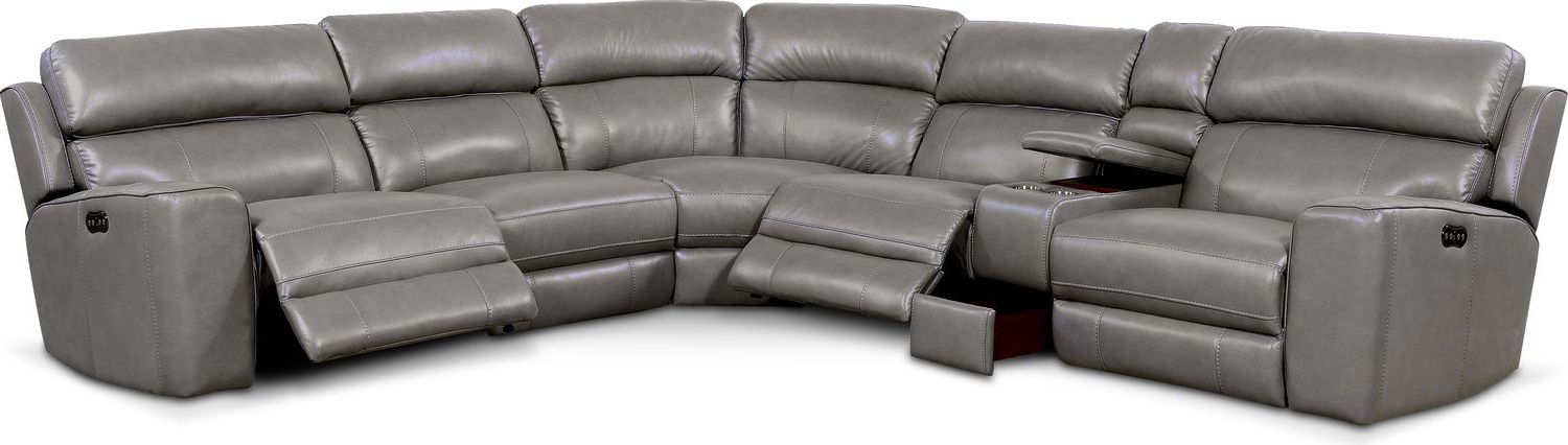 Trendy Newport 6 Piece Power Reclining Sectional With 3 Reclining In Forte Gray Power Reclining Sofas (View 3 of 15)