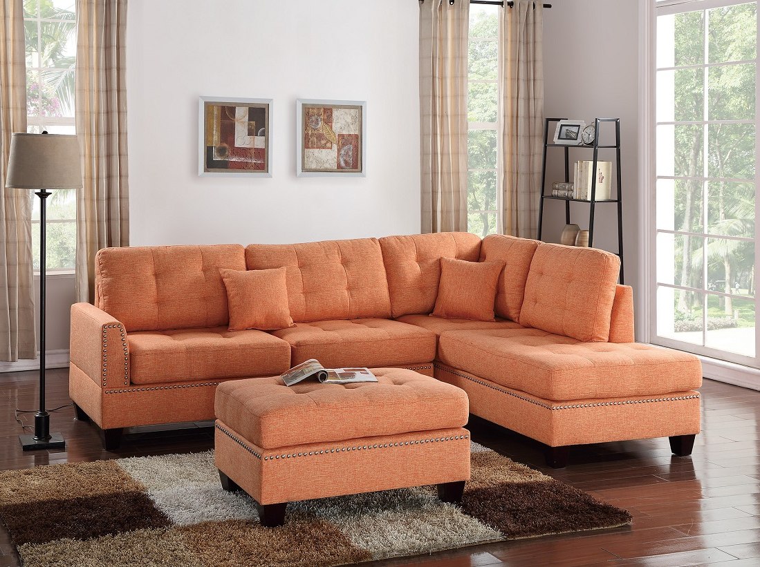 Trendy Palisades Reversible Small Space Sectional Sofas With Storage Intended For 3 Piece Sectional Sofa Reversible Chaise Ottoman Citrus (View 5 of 25)