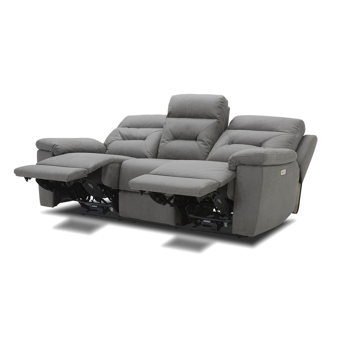 Trendy Raven Power Reclining Sofas With Kuka Justin Grey Fabric Power Reclining 3 Seater Sofa (View 6 of 15)