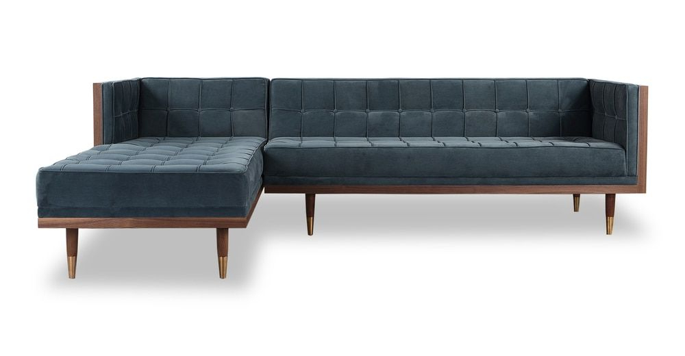 """Trendy Woodrow Box 100"""" Fabric Sofa Sectional Right, Walnut Throughout Somerset Velvet Mid Century Modern Right Sectional Sofas (View 4 of 25)"""