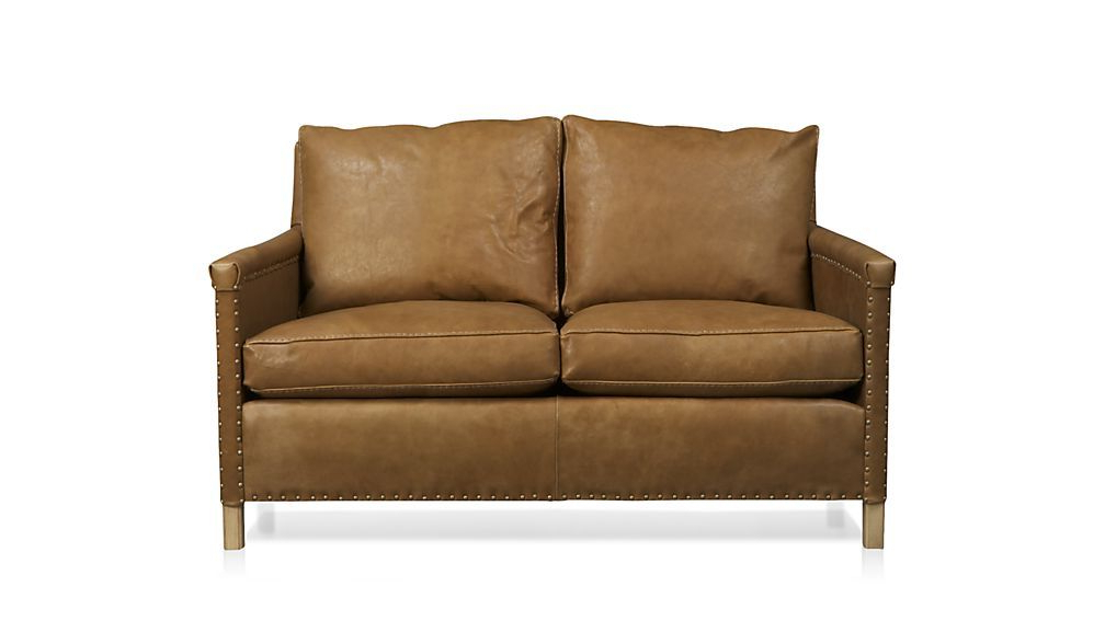 Trevor Brown Leather Loveseat With Nailheads + Reviews In Popular Trevor Sofas (View 3 of 15)