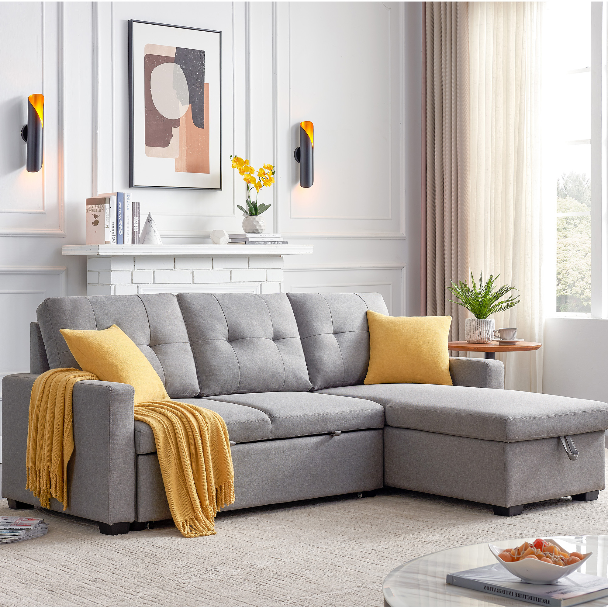 """Tufted 82"""" X 60"""" X 35"""" Modern Sofa Bed With Pull Out Throughout Most Current Easton Small Space Sectional Futon Sofas (View 1 of 25)"""