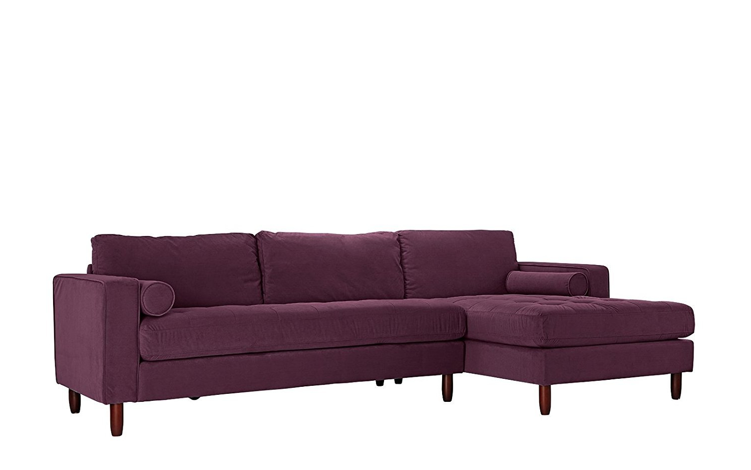 Tufted Velvet Fabric Sectional Sofa, L Shape Couch Left With Regard To Well Known Florence Mid Century Modern Velvet Left Sectional Sofas (View 11 of 25)