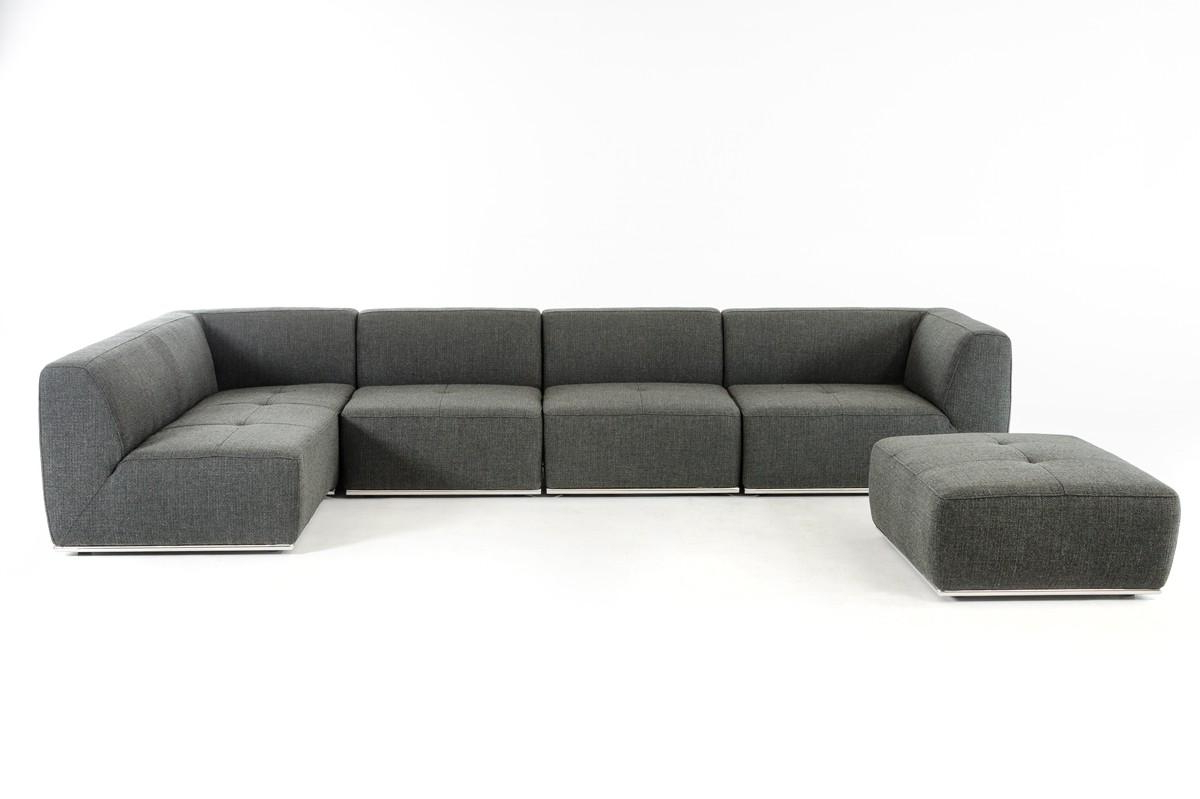 Ultra Modern Modular Grey Fabric Sectional Sofa Set 5 Within 2018 Hannah Right Sectional Sofas (View 15 of 25)