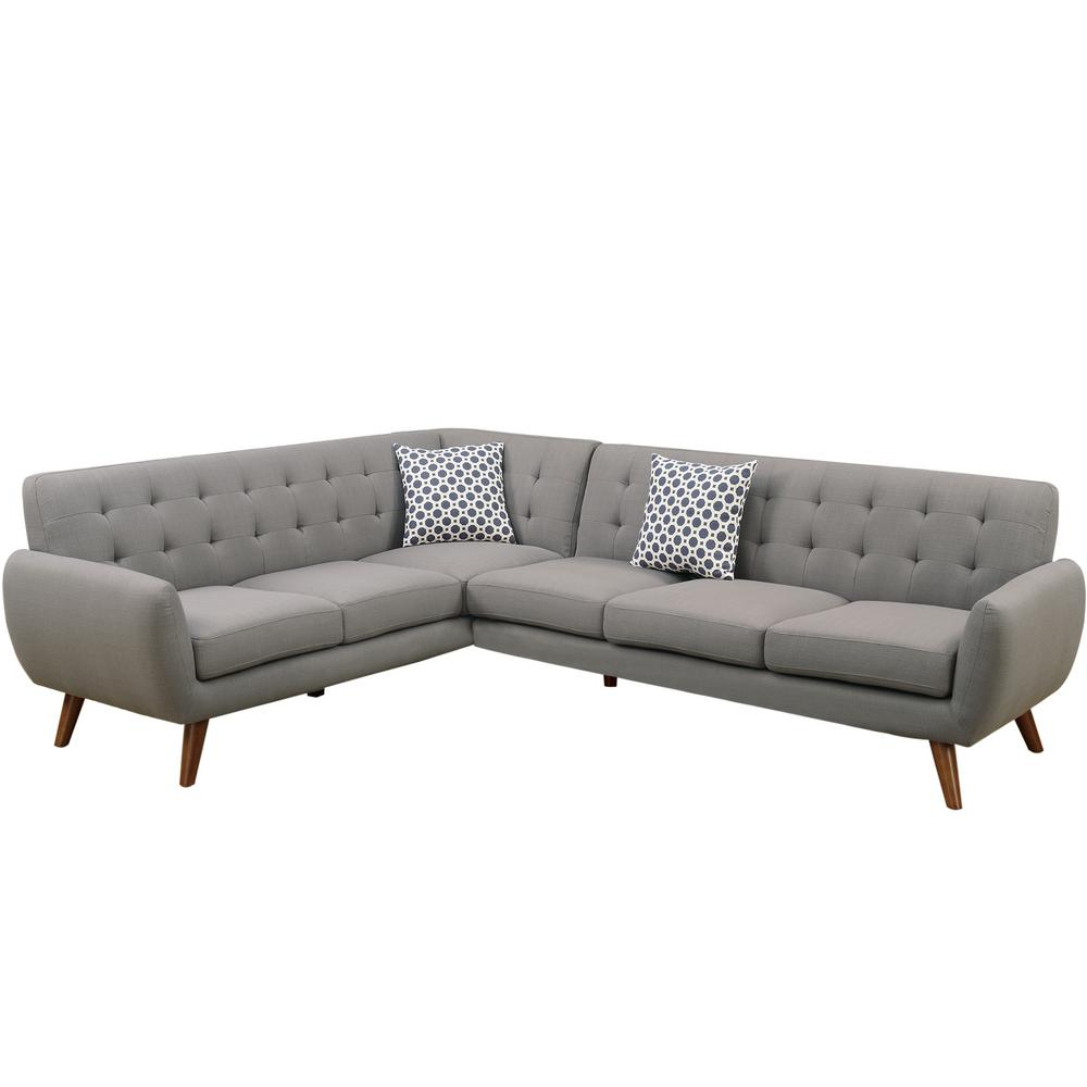 Venetian Worldwide 2 Piece Gray Polyfiber (Linen Like In Best And Newest Ludovic Contemporary Sofas Light Gray (View 22 of 25)