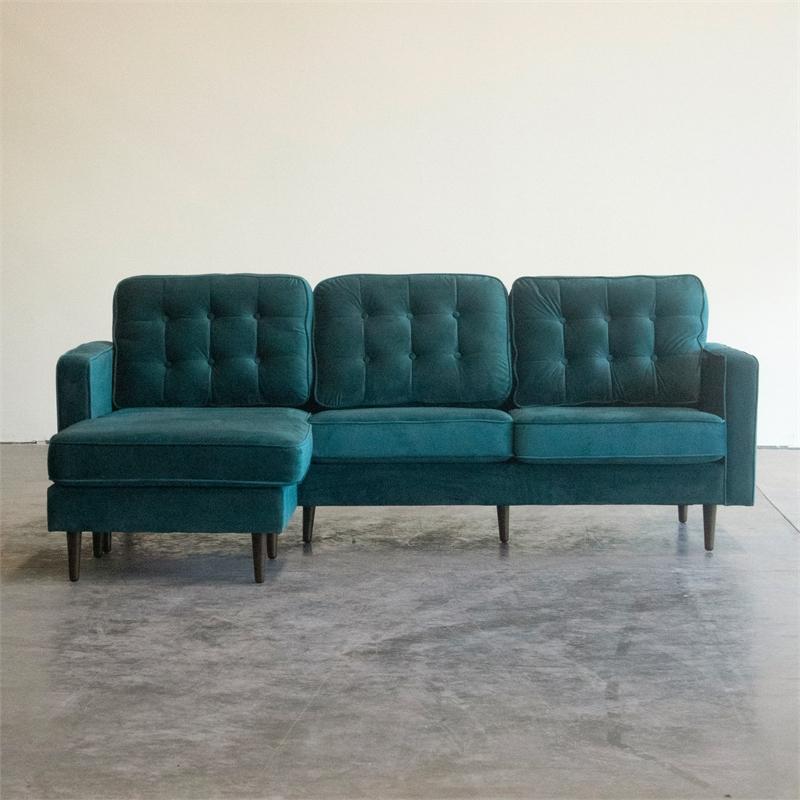 Verona Mid Century Reversible Sectional Sofas For Popular Mid Century Modern Kayle Teal Velvet Reversible Sectional (View 9 of 25)