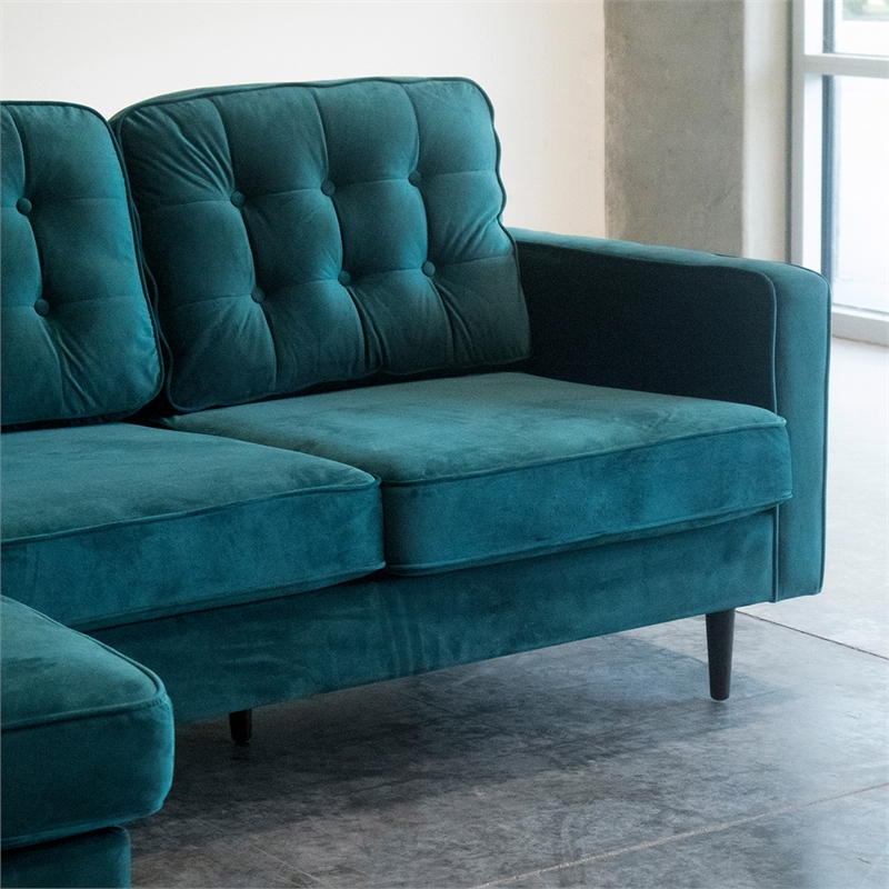 Verona Mid Century Reversible Sectional Sofas Intended For Most Up To Date Mid Century Modern Kayle Teal Velvet Reversible Sectional (View 1 of 25)