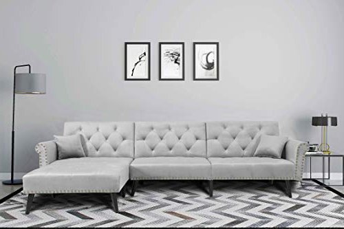 Verona Mid Century Reversible Sectional Sofas Pertaining To Newest Mid Century Upholstered Sectional Sofa Futon Couch With (View 20 of 25)