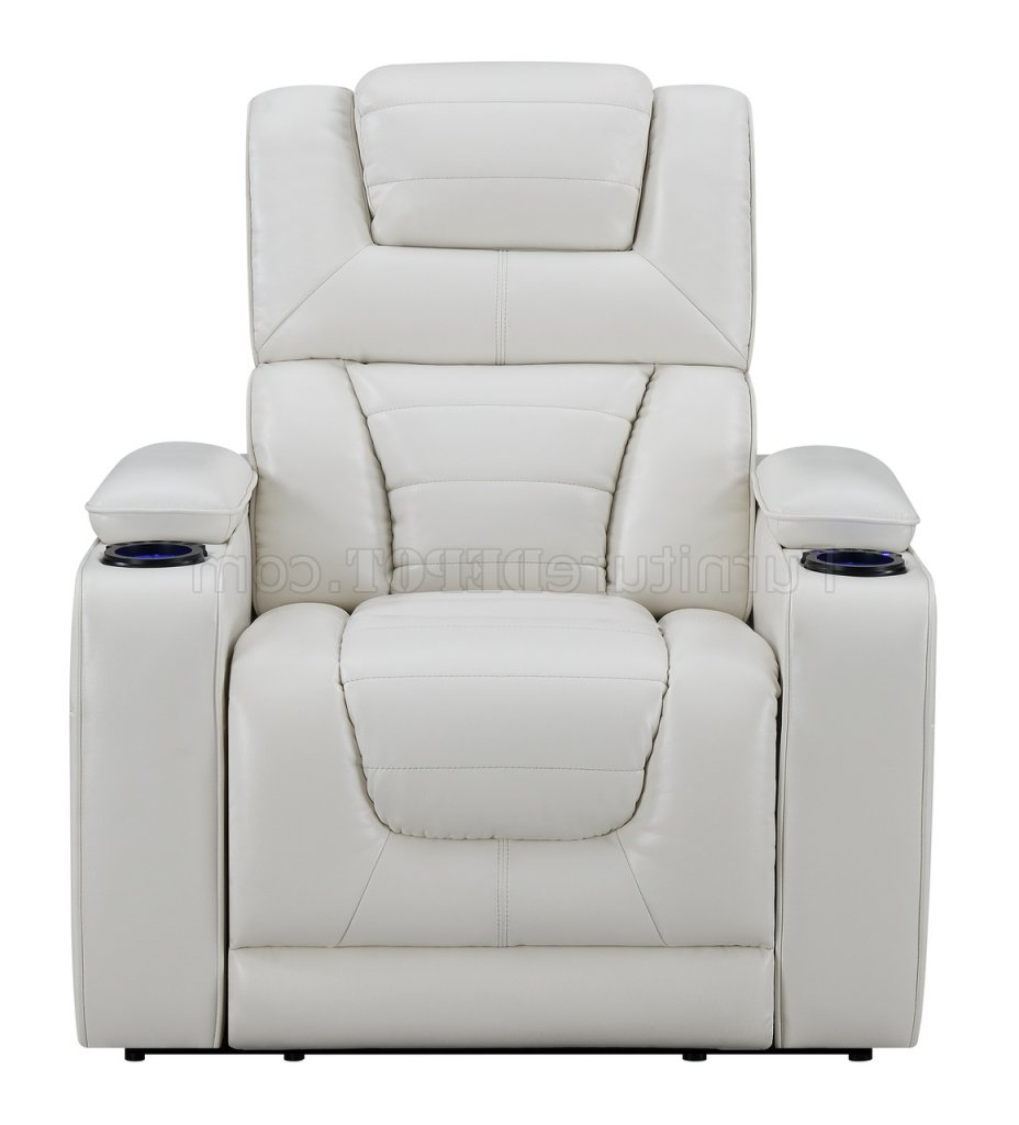 Walker Gray Power Reclining Sofas Intended For Trendy U1877 Power Motion Sofa In White Leather Gelglobal W (View 8 of 15)