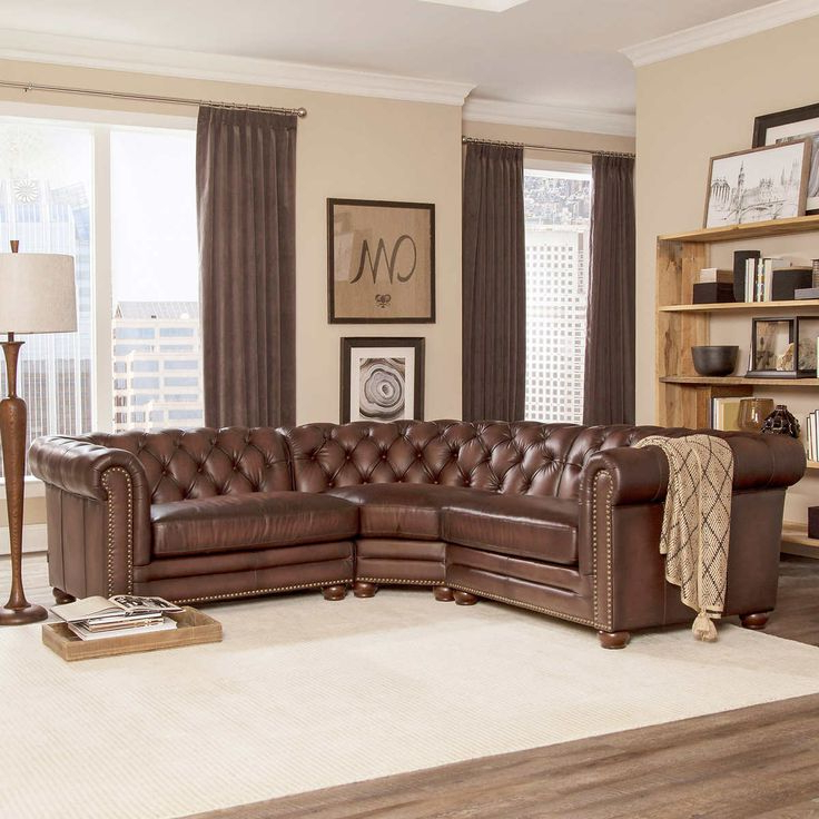 Well Known 3Pc Faux Leather Sectional Sofas Brown With Regard To Allington 3 Piece Top Grain Leather Sectional – Brown (View 24 of 25)