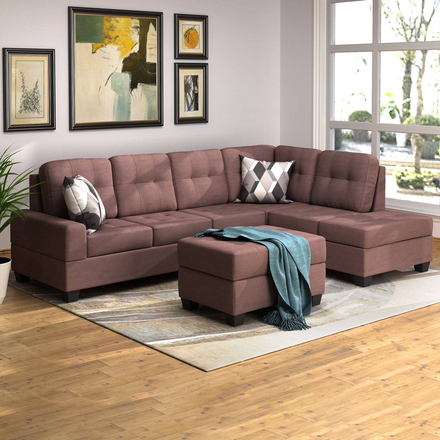 Well Known 3Pc Miles Leather Sectional Sofas With Chaise With Regard To 3 Piece Sectional Sofa Microfiber With Reversible Chaise (View 4 of 25)