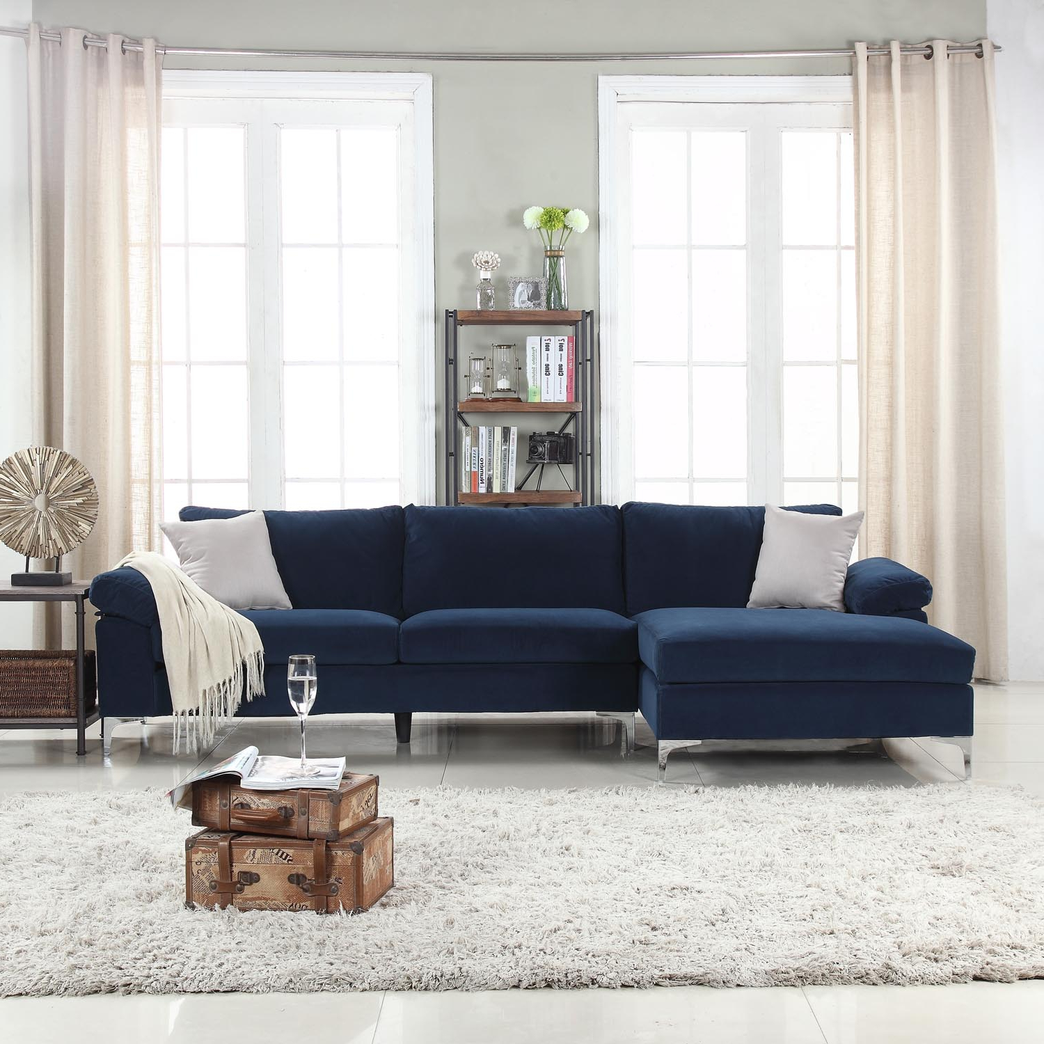 Well Known 4Pc Crowningshield Contemporary Chaise Sectional Sofas For Mobilis Modern Large Microfiber Velvet Fabric L Shape (View 3 of 25)