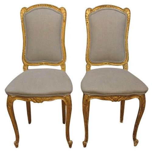 Well Known 4Pc French Seamed Sectional Sofas Oblong Mustard Throughout Pair Of 19Th C Italian Gold Gilt Chairs With Grey Linen (View 16 of 25)
