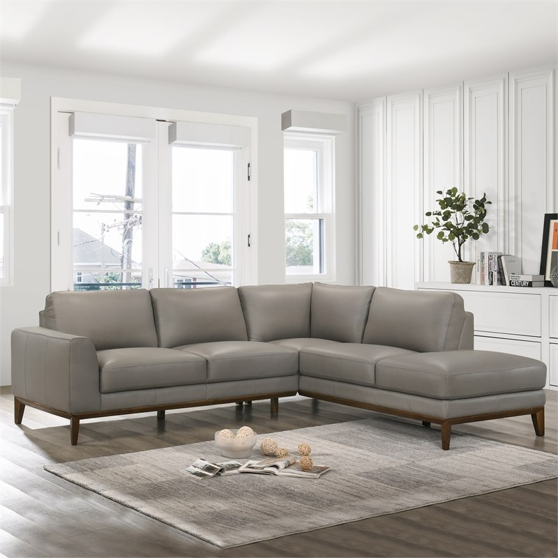 Well Known Alani Mid Century Modern Sectional Sofas With Chaise Within Mid Century Modern Milton Gray Leather Sectional Sofa (View 14 of 25)