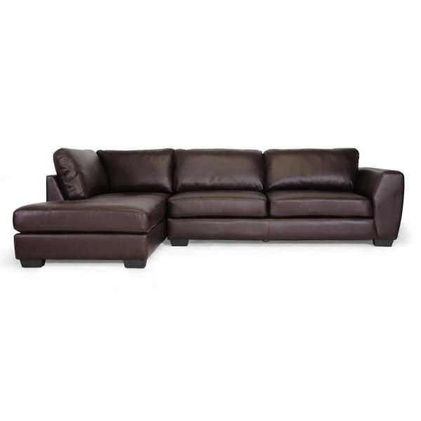 Well Known Baxton Studio Orland 2 Piece Brown Faux Leather 4 Seater L Inside 2Pc Burland Contemporary Chaise Sectional Sofas (View 16 of 25)