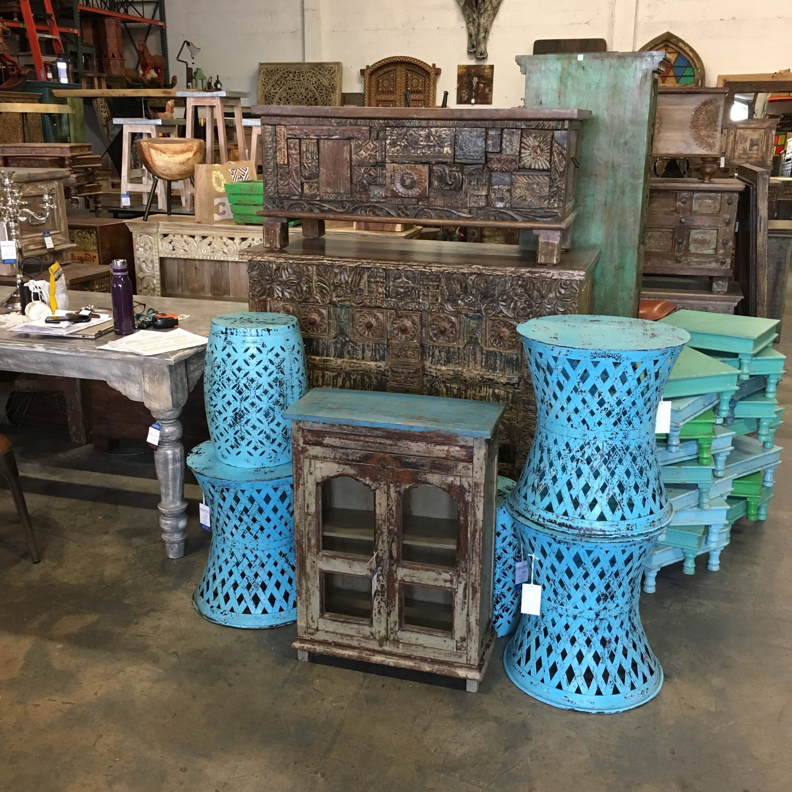 Well Known Blue Accents Tables And Reclaimed Cabinets (View 12 of 15)