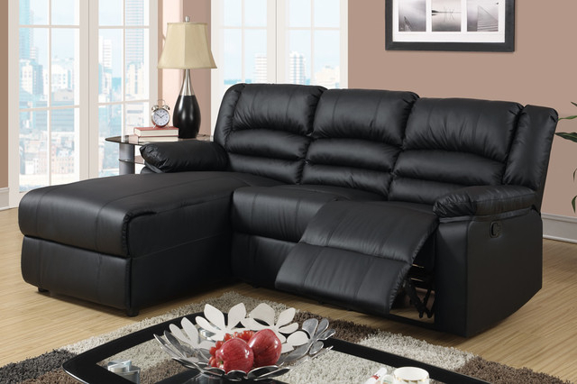 Well Known Bonded Leather All In One Sectional Sofas With Ottoman And 2 Pillows Brown Regarding Small Black Leather Reclining Sectional Sofa Set Recliner (View 5 of 25)