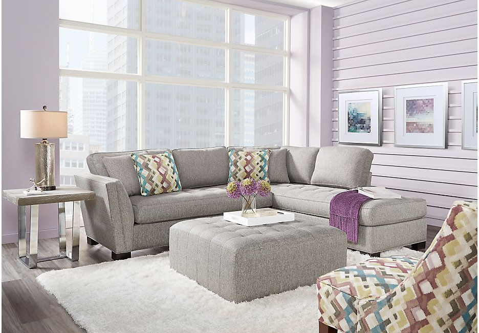 Well Known Calvin Concrete Gray Sofas For Cindy Crawford Home Calvin Heights Gray 2 Pc Sectional (View 7 of 15)