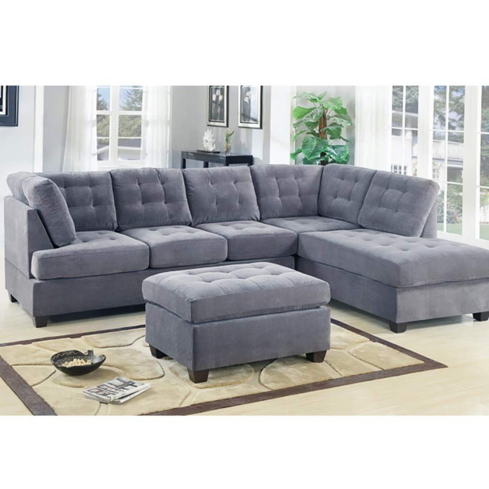 Well Known Casa Andreamilano 2 Piece Modern Grey Soft Tufted Micro Inside 2Pc Crowningshield Contemporary Chaise Sofas Light Gray (View 6 of 25)