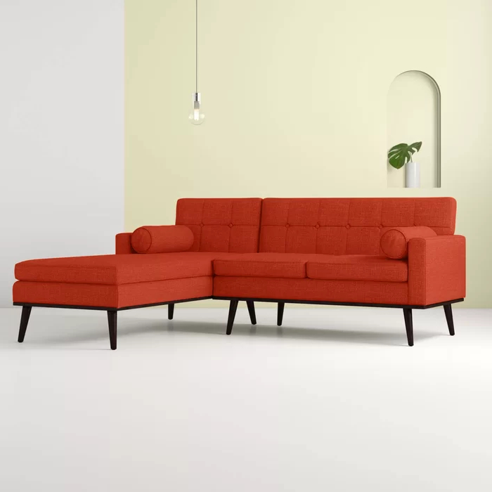"""Well Known Catalina 55"""" Wide Right Hand Facing Modular Sofa & Chaise Pertaining To Somerset Velvet Mid Century Modern Right Sectional Sofas (View 9 of 25)"""
