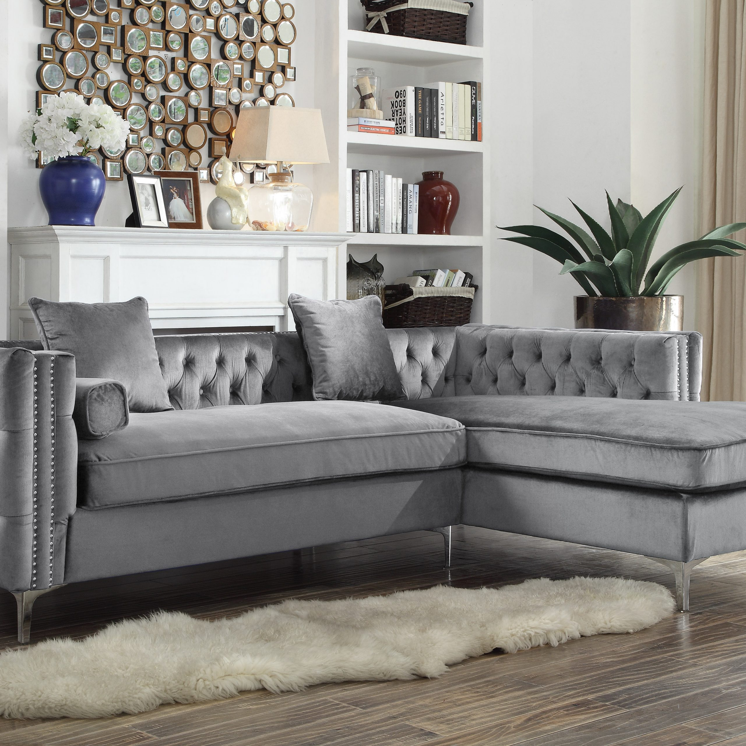 Well Known Chic Home Monet Velvet Modern Button Tufted Sectional Sofa Inside Ludovic Contemporary Sofas Light Gray (View 9 of 25)
