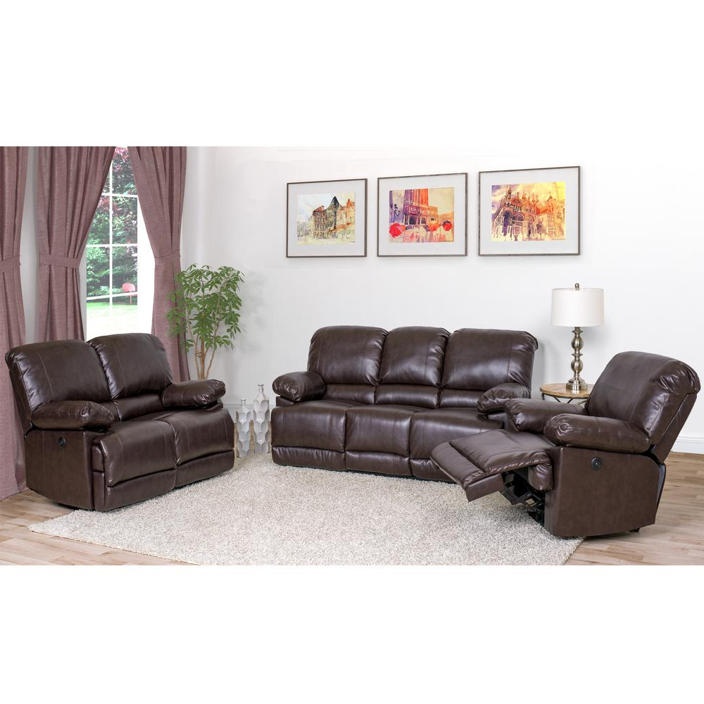 Well Known Corliving Lea 3 Piece Chocolate Brown Bonded Leather Power With Regard To 3Pc Bonded Leather Upholstered Wooden Sectional Sofas Brown (View 7 of 25)