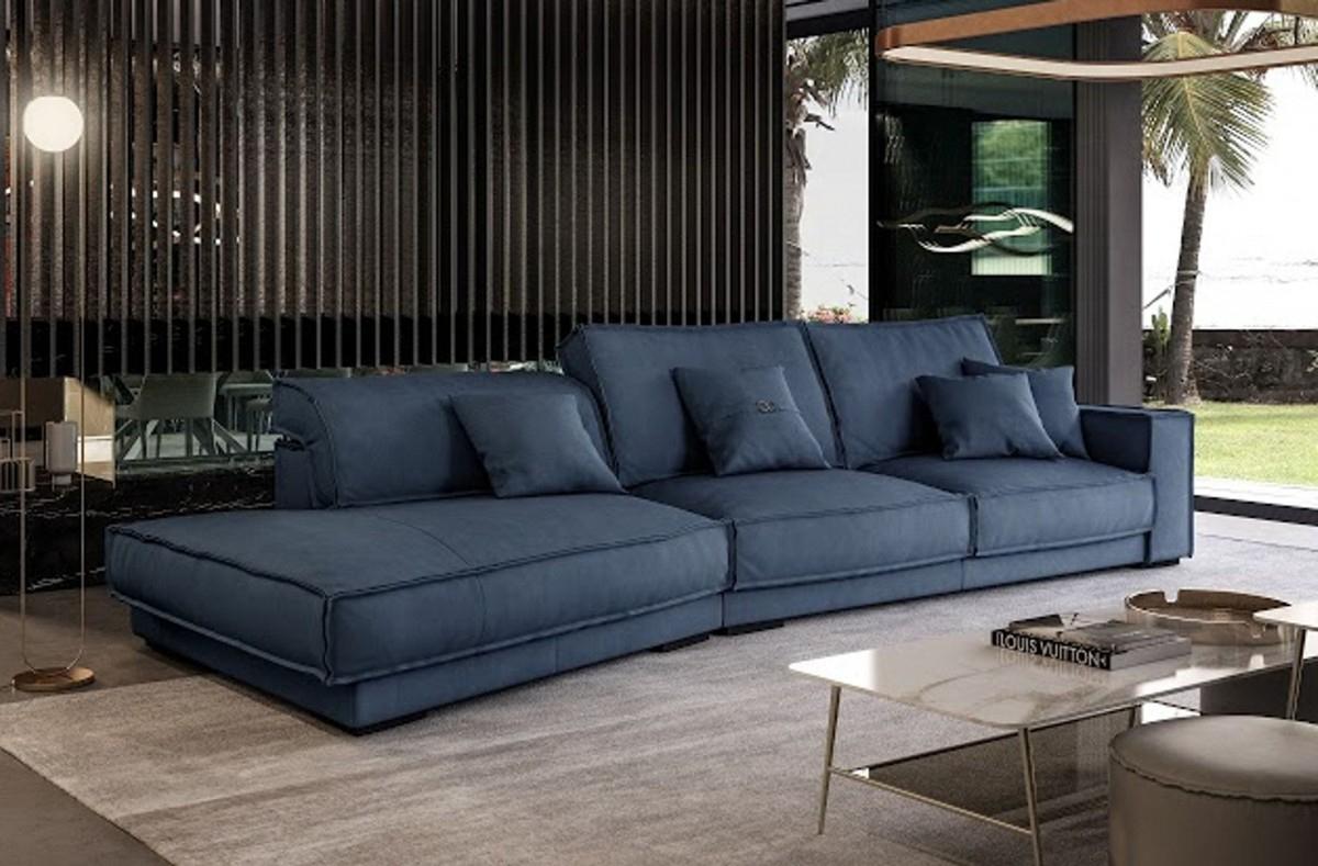 Well Known Coronelli Collezioni Sevilla – Italian Contemporary Blue In Dulce Mid Century Chaise Sofas Dark Blue (View 7 of 25)