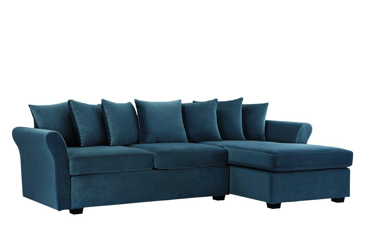 """Well-known Florence Mid-Century Modern Velvet Left Sectional Sofas within Sanders 96"""" Wide Velvet Left Hand Facing Sofa & Chaise"""