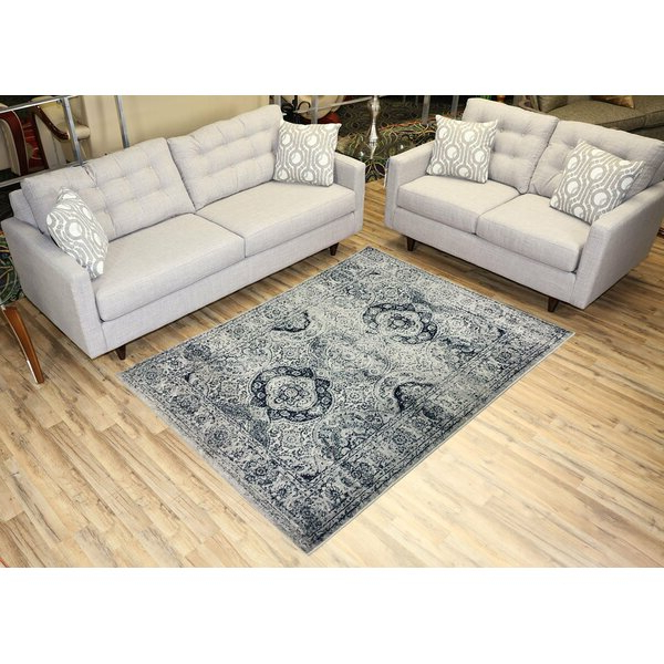 Well Known Gracie Oaks Karlstad Oriental Navy Blue/Ivory Area Rug Intended For Gracie Navy Sofas (View 3 of 15)