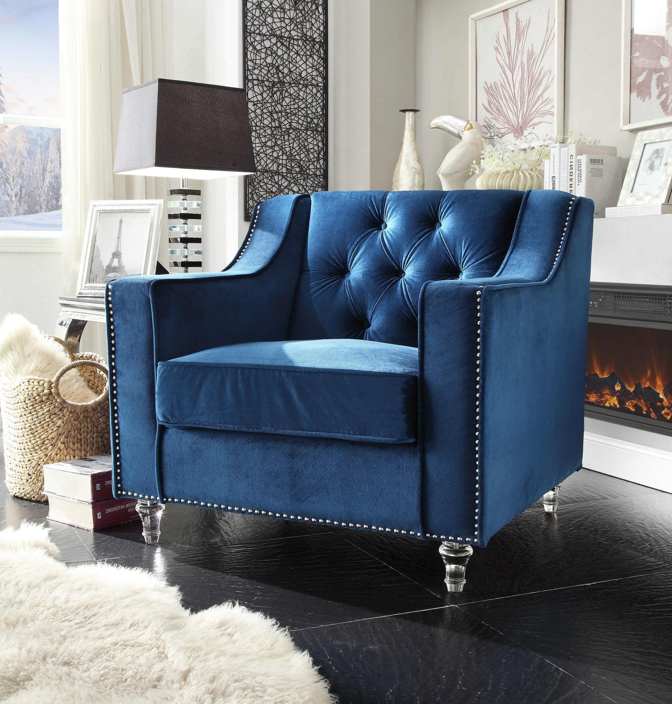 Well Known Iconic Home Dylan Velvet Button Tufted Nailhead Trim Throughout Annette Navy Sofas (View 15 of 15)
