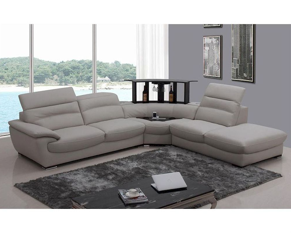 Well Known Molnar Upholstered Sectional Sofas Blue/Gray Inside Modern Light Grey Italian Leather Sectional Sofa 44L (View 14 of 25)