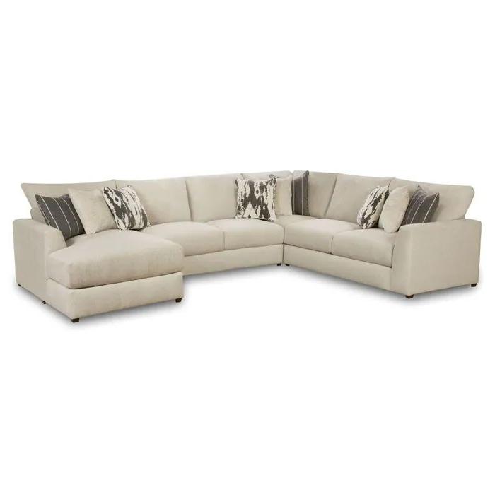 Well Known Monet Right Facing Sectional Sofas Regarding Emperor Ivory Chenille 4 Piece Right Facing Chaise (View 22 of 25)