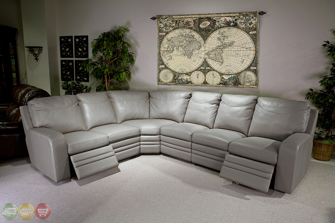 Well Known Parker Living Steinbeck Gray Top Grain Leather Sectional Within Noa Sectional Sofas With Ottoman Gray (View 19 of 25)