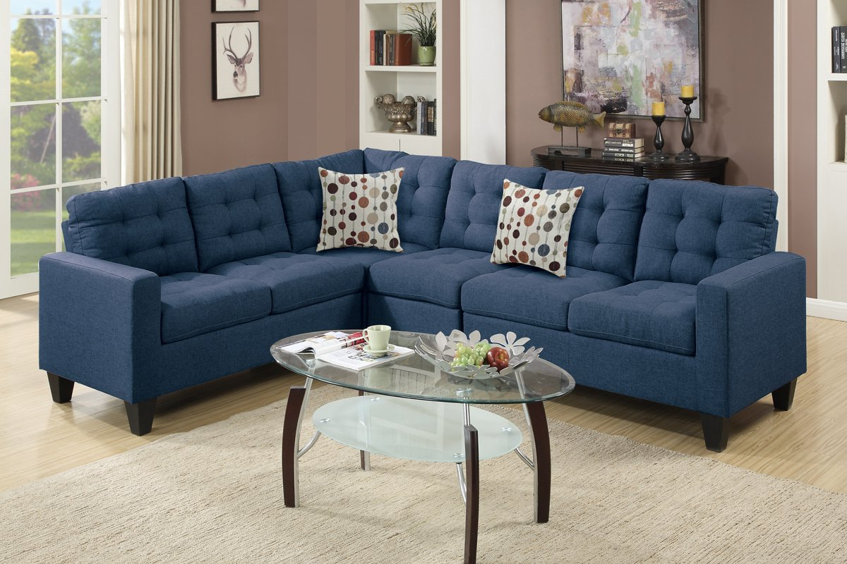 Well Known Polyfiber Linen Fabric Sectional Sofas Dark Gray Intended For Poundex Francis F6938 Navy Polyfiber Linen Like Fabric (View 1 of 25)