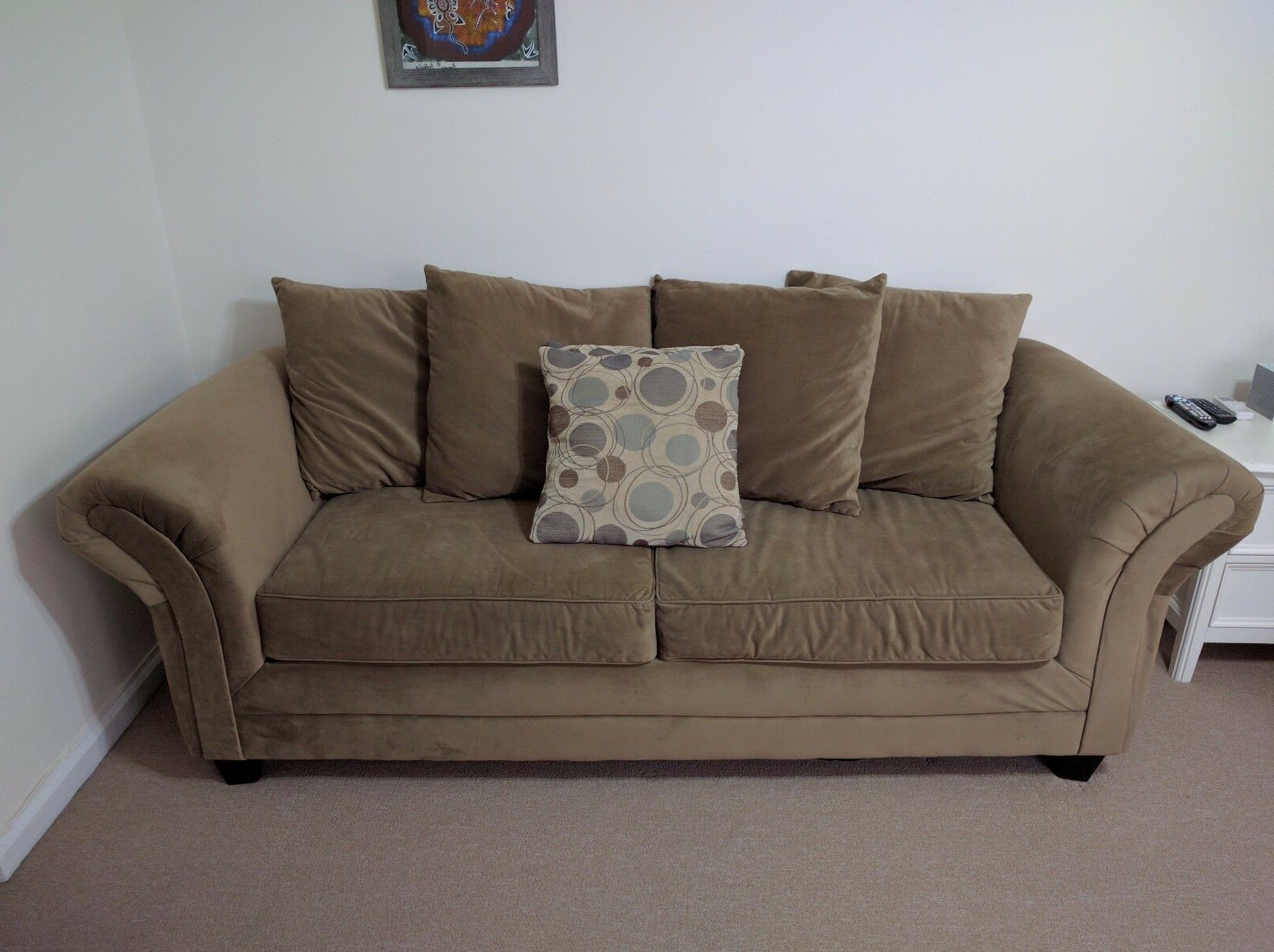 Well Known Symmetry Fabric Power Reclining Sofas Pertaining To Bob'S Discount Furniture: Desert Sand Suede 3 Seater Sofa (View 1 of 15)