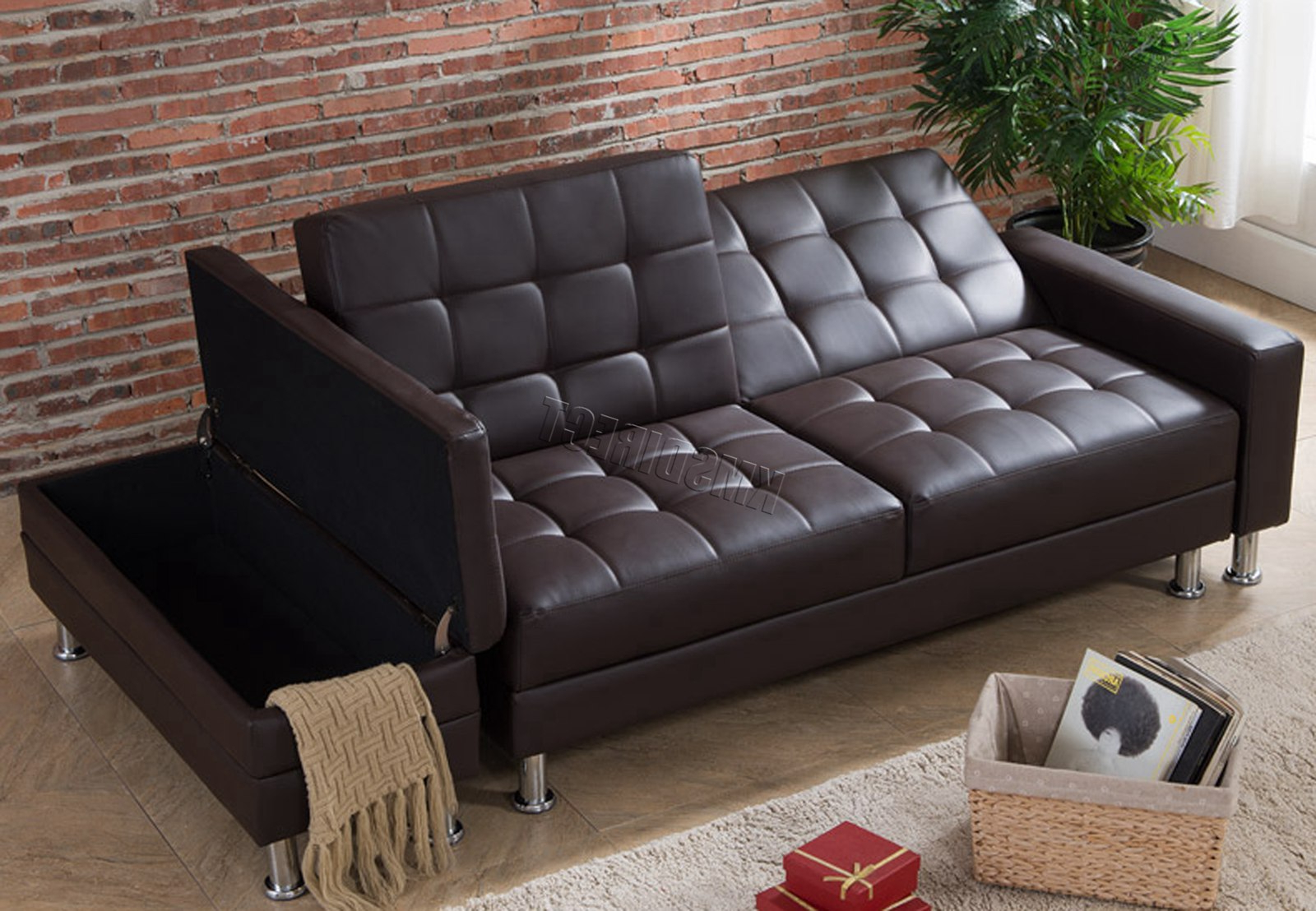 Well Known Westwood Pu Sofa Bed With Storage 3 Seater Guest Sleeper Throughout Liberty Sectional Futon Sofas With Storage (View 1 of 25)